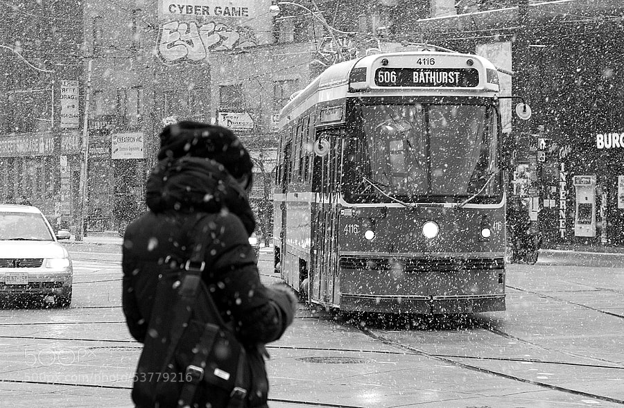 Bathurst streetcar in snow. Toronto, Ont.