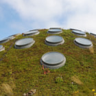 """The Living Roof: The more typical black tar-and-asphalt building rooftop leads to a phenomenon called the """"Urban Heat Island"""" effect. The endless swath of black rooftops and pavement trap heat, causing cities to be 6 to 10 degrees warmer than outlying greenbelt areas. One-sixth of all electricity consumed in the U.S. goes to cool buildings. The Academy's green rooftop keeps the building's interior an average of 10 degrees cooler than a standard roof would. The plants also transform carbon dioxide into oxygen, capture rainwater, and reduce energy needs for heating and cooling."""