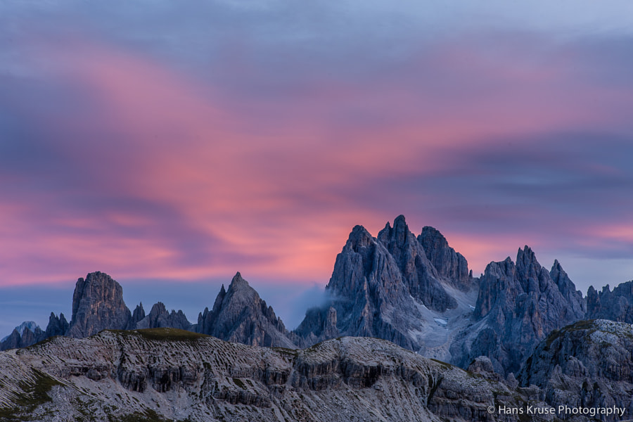 This photo was shot after sunset at Tre Cime di Lavaredo in the Dolomites in September 2011.