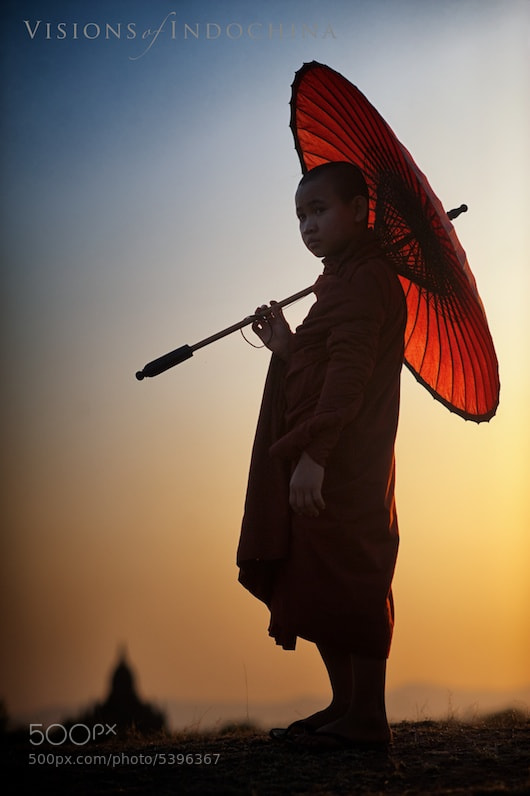 Photograph Burmese novice monk at sunset  by Visions of Indochina on 500px