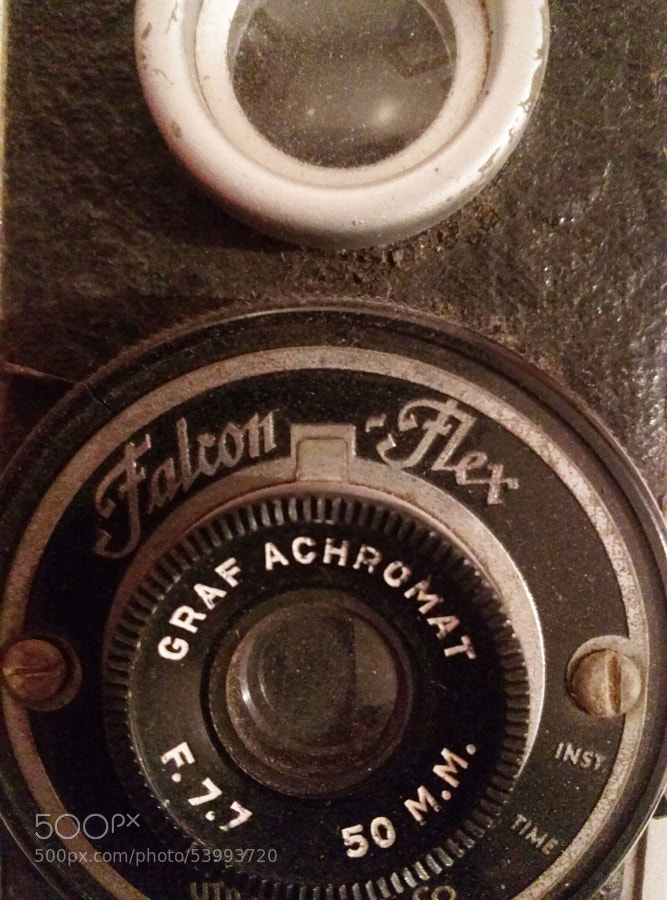A vintage Falcon Flex camera that has been in our family for generations.  The camera is a Graf Achromat, reflex camera with an aluminum case. It even has the original box!
