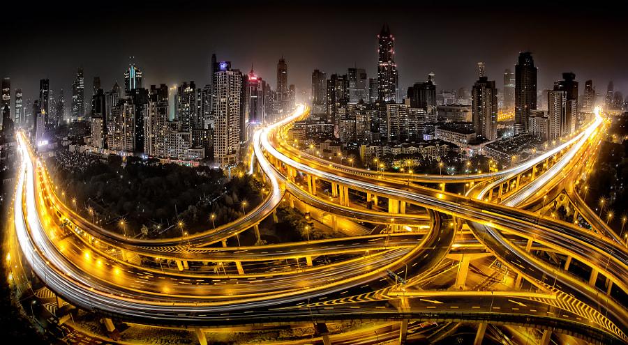 Shanghai at Night, автор — Clemens Geiger на 500px.com