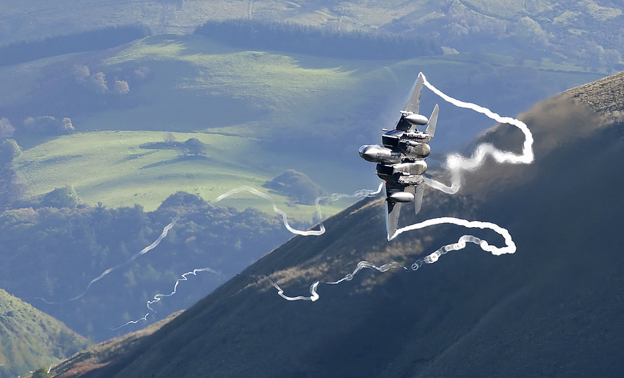 USAF F15 Strike Eagle - Bwlch - Mach loop. by Ben Gilbert on 500px.com