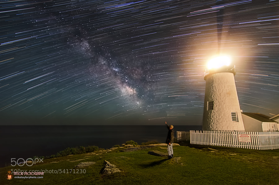 Photograph Milky Way and Star Trails at Pemaquid Point Light, Maine by Mike Taylor on 500px