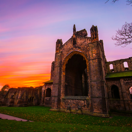 Kirkstall Abbey, Leeds at sunset