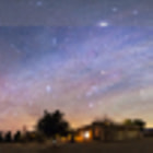 Постер, плакат: New Mexico Pre Dawn Skyglow Panorama Dec 2013