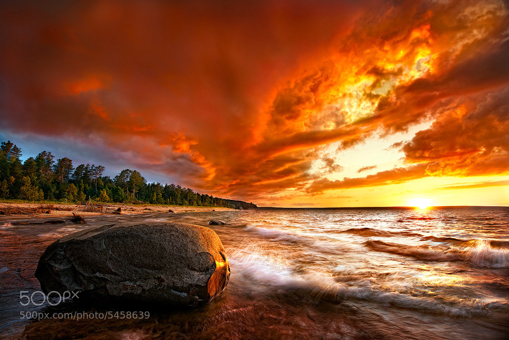 Photograph Lake Superior Blazing Sunset by Steve Perry on 500px