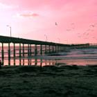 Sundown at the pier at Ocean Beach in San Diego, California.