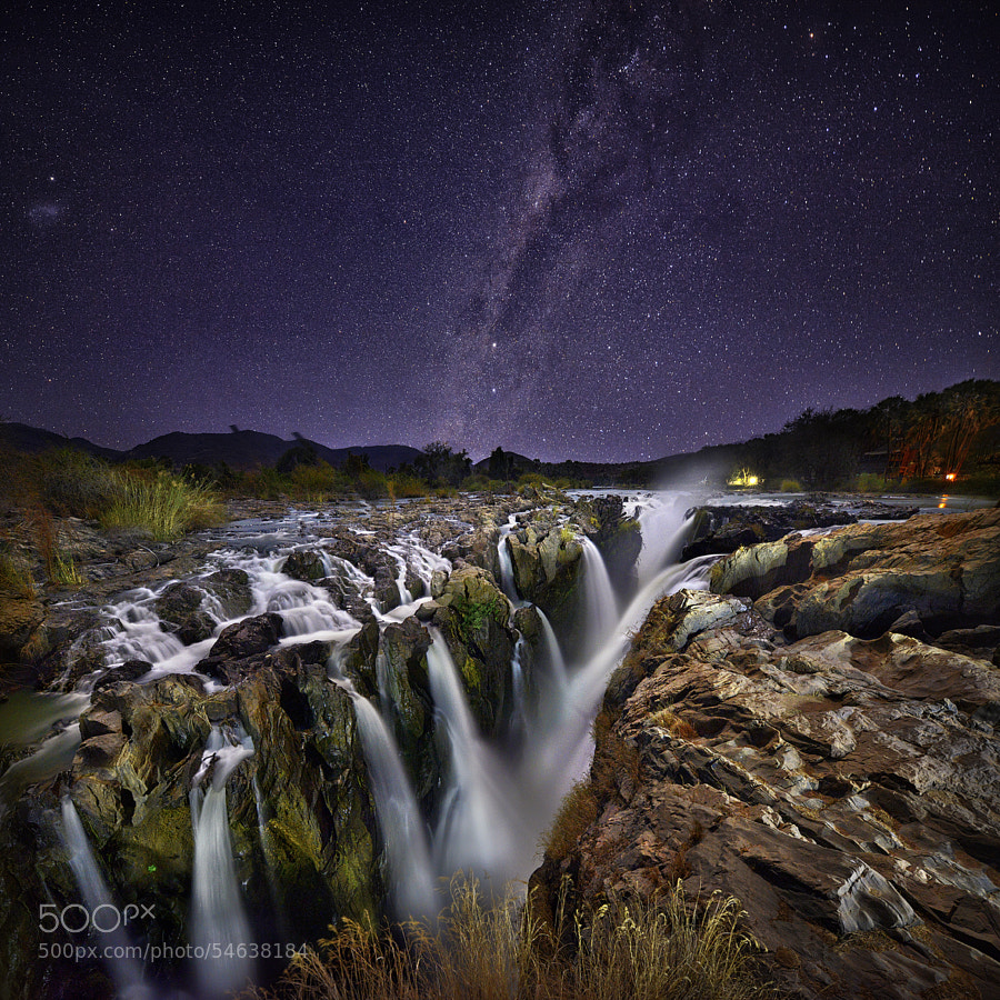 Light painting Epupa Falls. by Patrick Galibert
