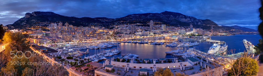 Monaco night panoramic view by gonzalezgarrido