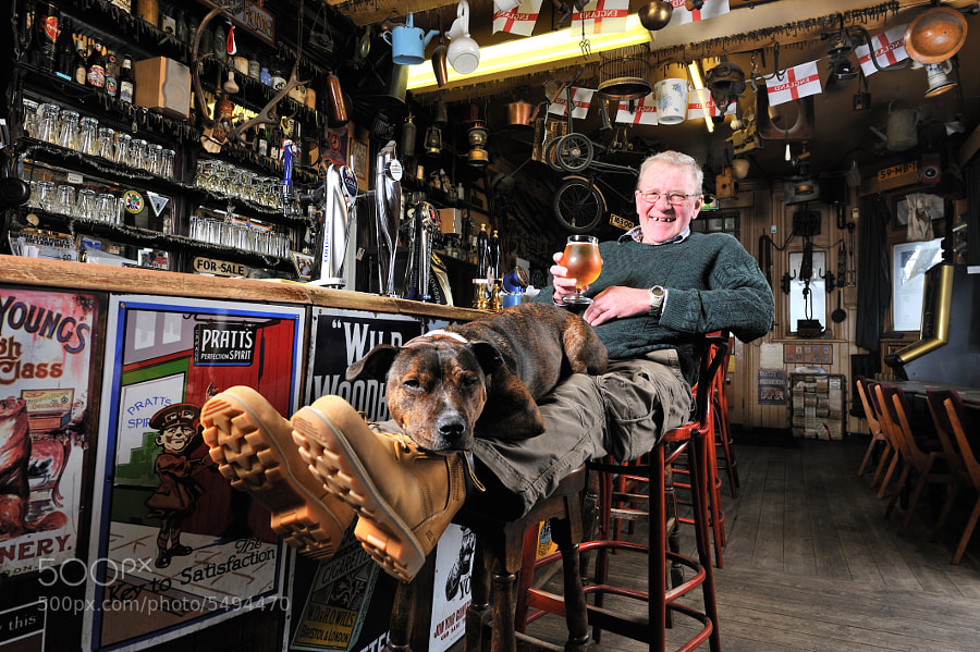 Roy Gibb with his Staffy 'Jack', contemplating retirement after 27 years behind the bar of the quirkiest pub in Tunbridge Wells, The High Brooms Tavern.   http://www.highbroomstavern.com/