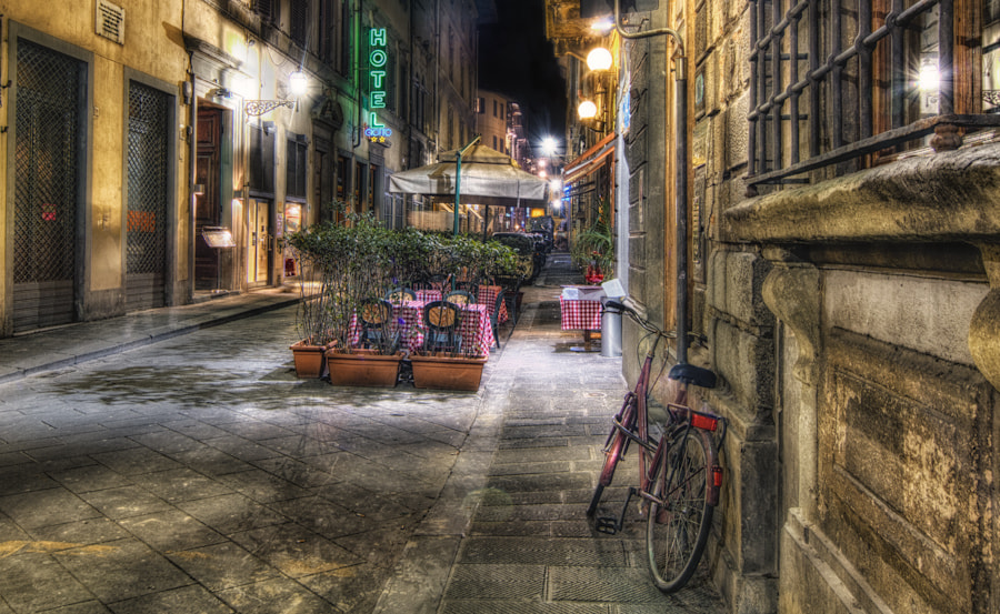 Photograph Florence at Night…Lonely Side Street by David Edenfield on 500px