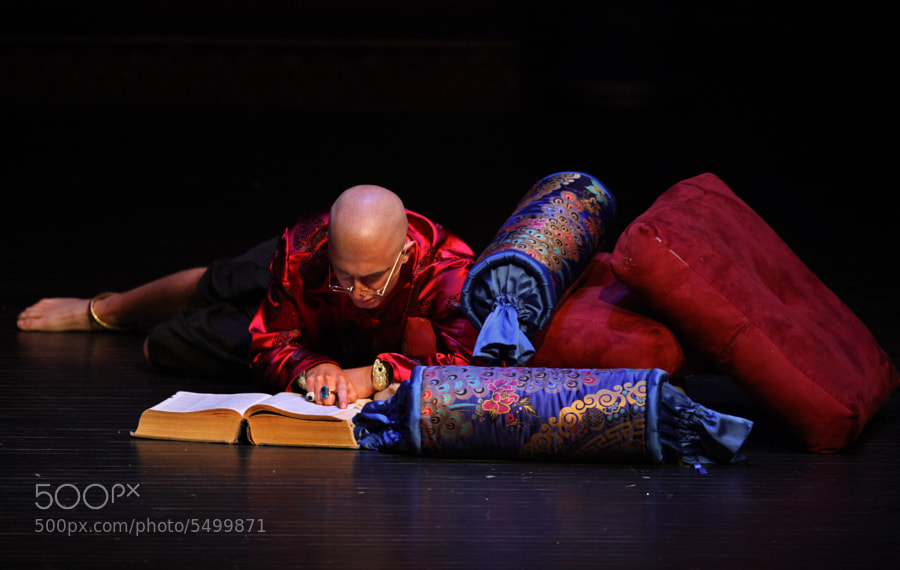A scene from the local high school production of the musical, The King And I.  The shot was taken from the Audio/Visual Booth about two hundred-fifty feet from the stage.