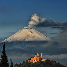 Popocatepetl and Cholula's Church by Cristobal Garciaferro Rubio on 500px.com