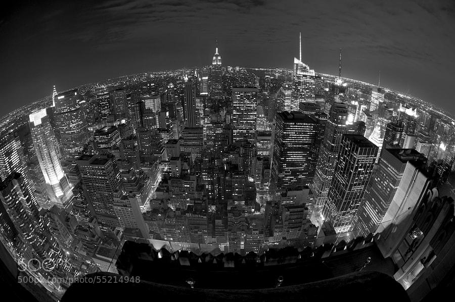 A fisheye shot of Midtown Manhattan.