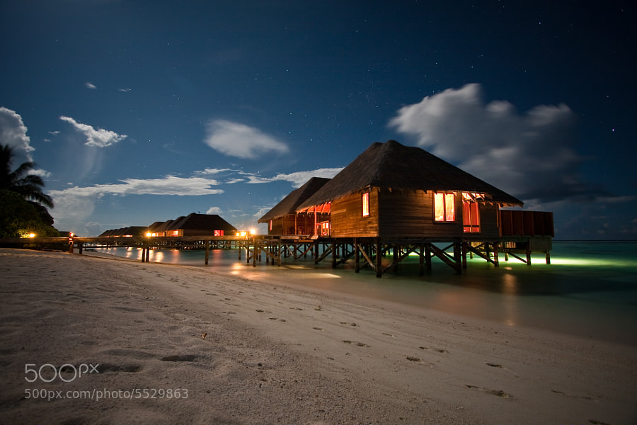 The evening walks around the island were one of the best parts about the Maldives.  It was so incredibly peaceful and relaxing.  Guests have an option to turn on a light in the water that would attract the fish.