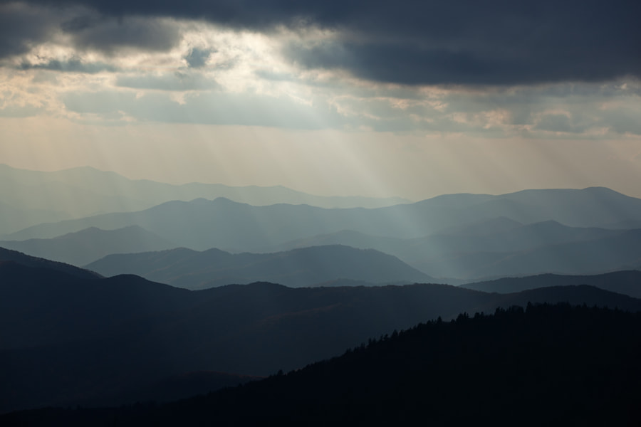Sunbeams and Great Smoky Mountains by Dean Pennala on 500px.com