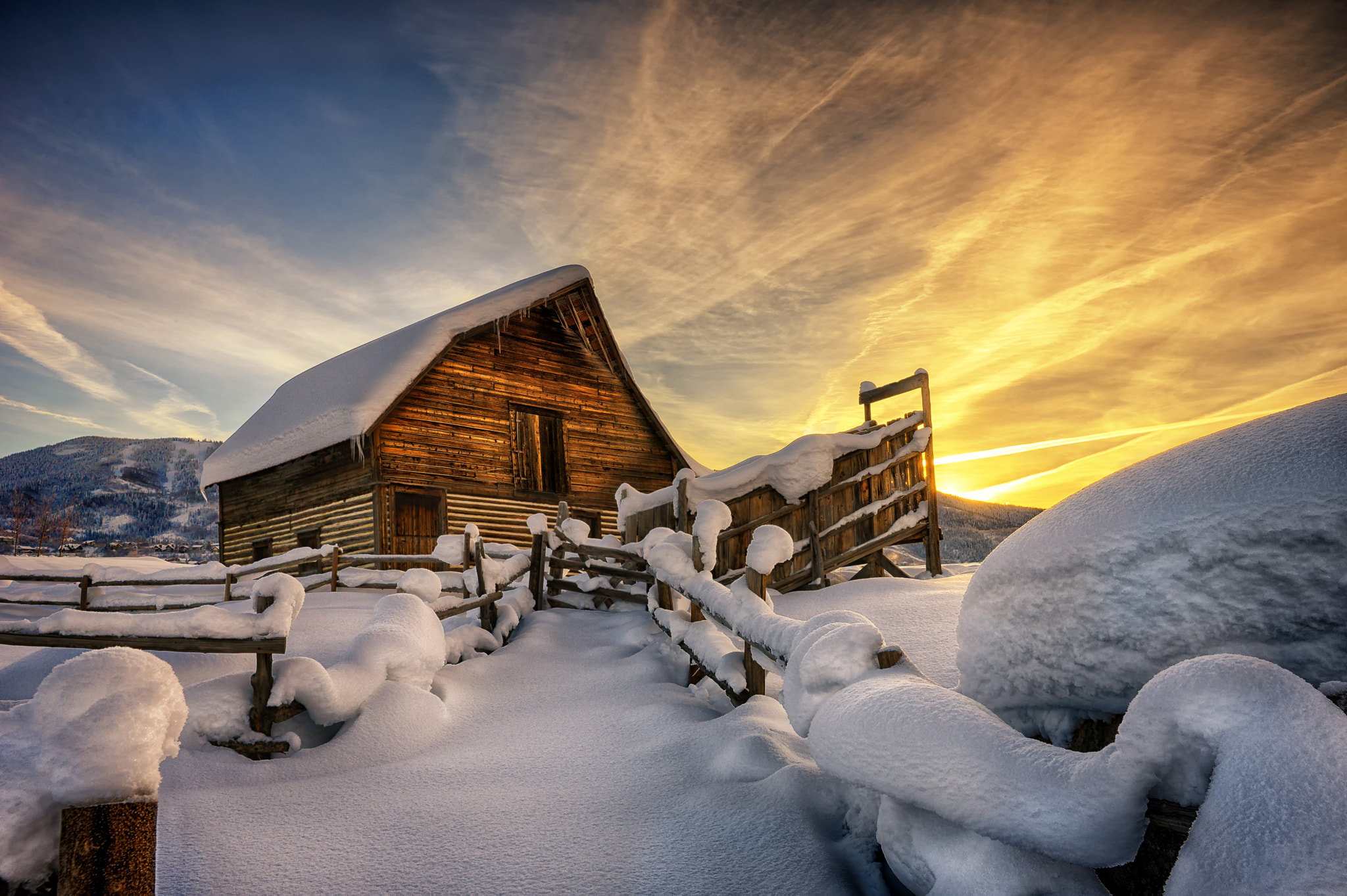 Photograph First light on fresh snow at the barn by David Soldano on 500px