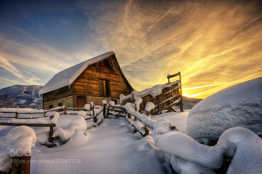 First light on fresh snow at the barn by David Soldano on 500px.com