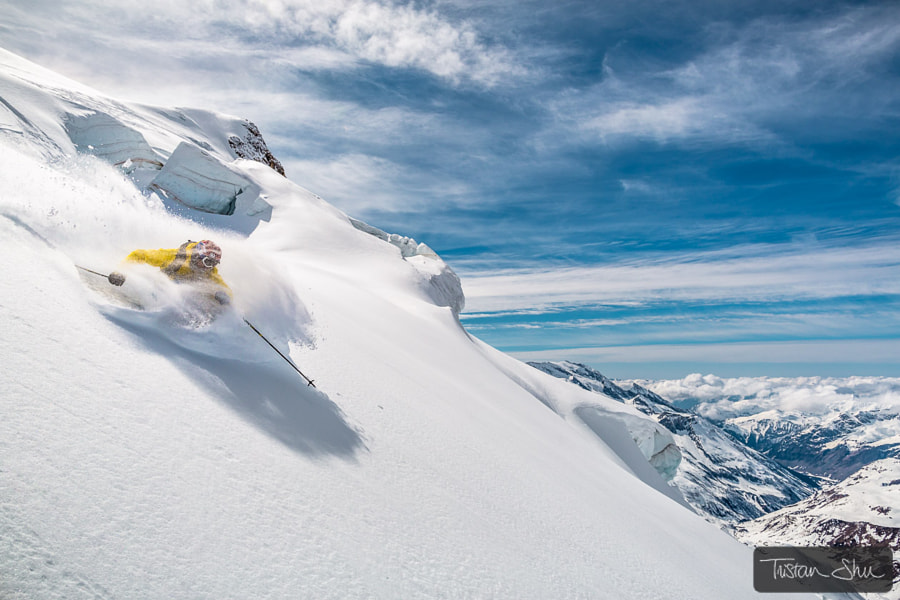 Photograph Powder on the north face with Adrien Coirier by Tristan Shu on 500px