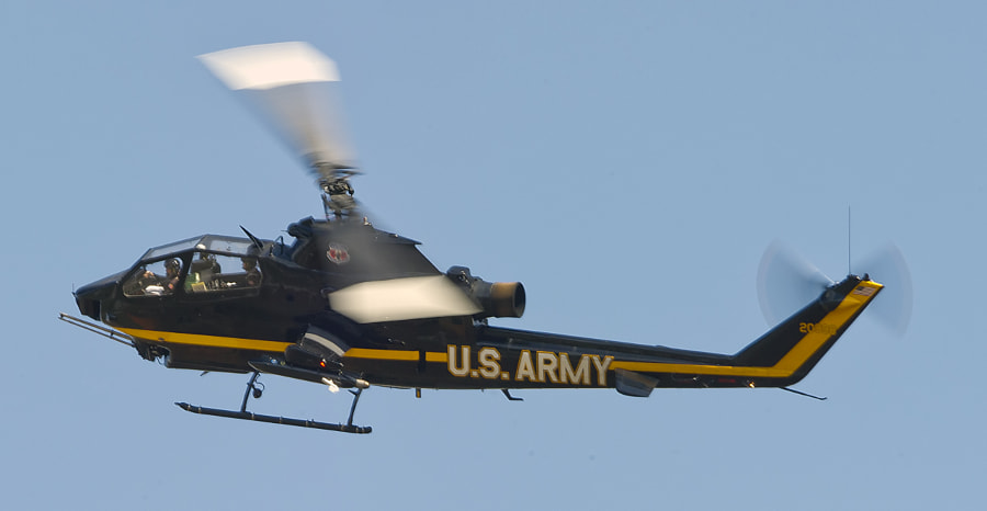 A Sky Soldiers Cobra helicopter during a practice session.
