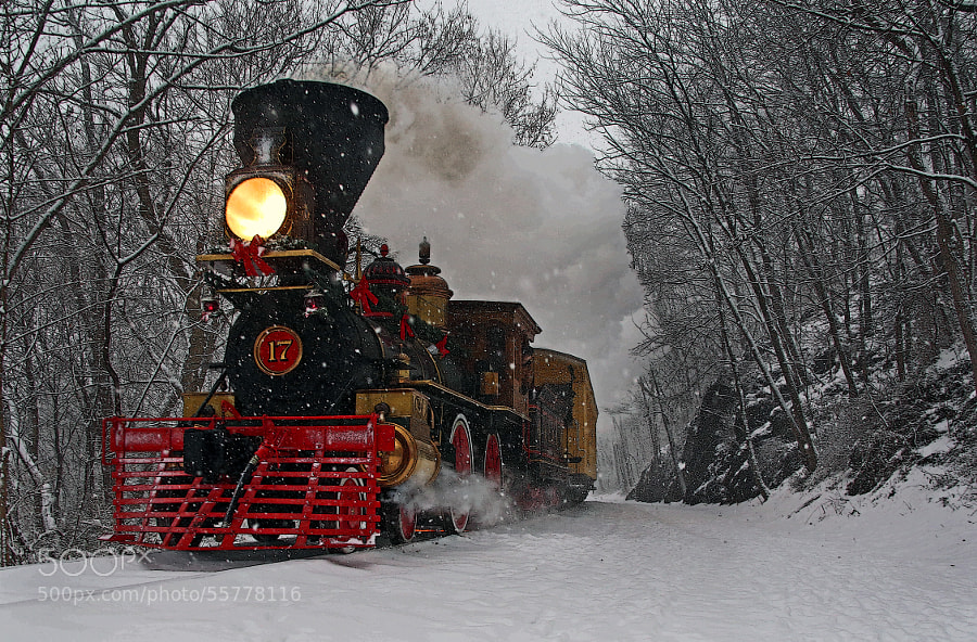 Replica of the York #17 steaming through fresh snow on the York County Heritage Rail Trail, York County, Pennsylvania.  I waited at this venue for the morning run but it stopped snowing and I returned home disappointed.  No sooner did I arrive home, it started to snow again.  I did what any photographer would do, I went back to capture the afternoon run.  I waited in the warmth of my Jeep until I heard the whistle.  When I did, I hustled down the tracks on foot about a tenth of mile to the cut and waited and waited.  This was the result of the second trip.  Hope you like it.
