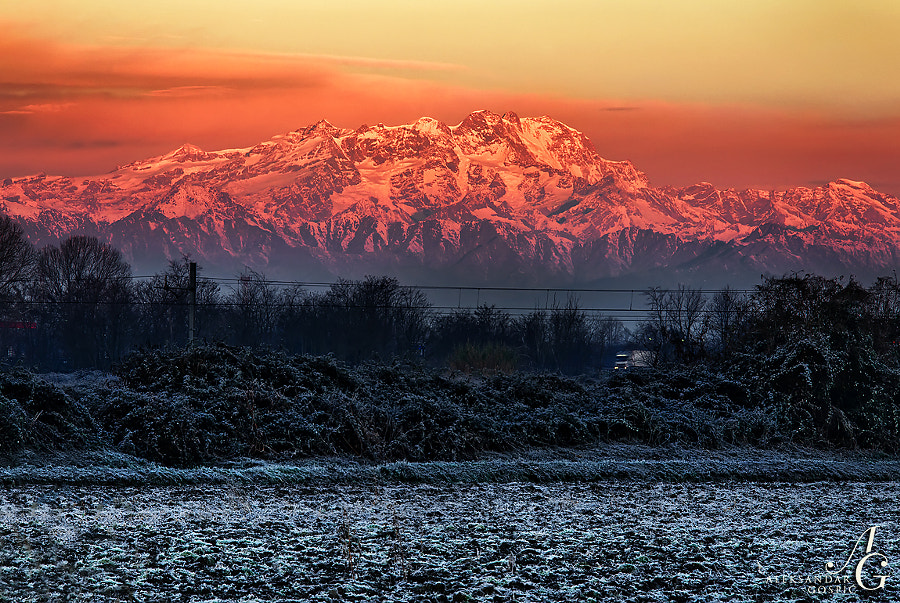 The colossal group of Monte Rosa (4634m/15203ft), the second highest in the Alps after Mont Blanc, splashed by the rising sun, rises some 4.5km above the frosty fields of Northern Italy near Milano