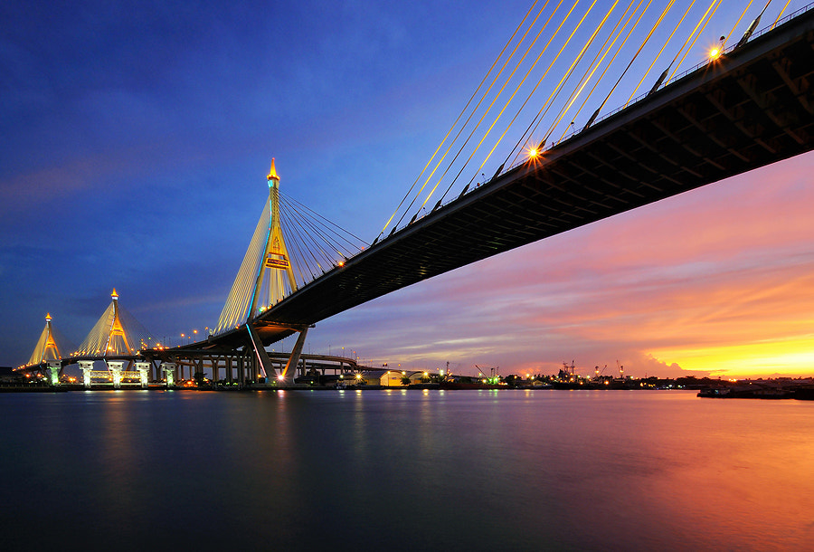 Photograph Twilight at the Bridge by Kawin Samer on 500px