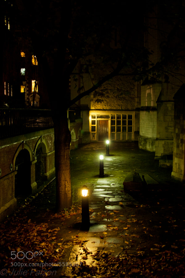 """Shot during a """"ghost walk"""" in the area of Temple church in London (learned later thay they shot a bit of the """"Da Vinci Code"""" film there) . This side of the church has such a mysterious atmosphere to it, it was difficult to get my eyes of it, so I took a picture..."""