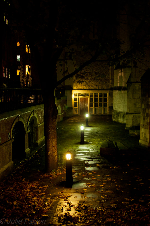 "Shot during a ""ghost walk"" in the area of Temple church in London (learned later thay they shot a bit of the ""Da Vinci Code"" film there) . This side of the church has such a mysterious atmosphere to it, it was difficult to get my eyes of it, so I took a picture..."