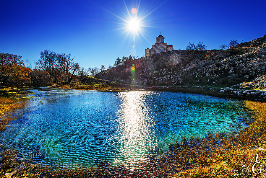 Crystal clear winter day, like the water in more than 100m/330ft deep karst spring of the Cetina river