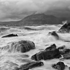 Looking out to the Cuillins in 60mph plus winds and heavy hail.