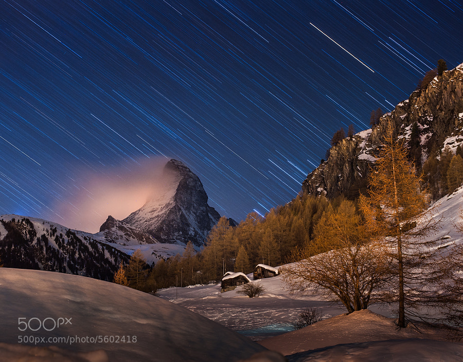 Photograph a night with Matterhorn by Coolbiere. A. on 500px