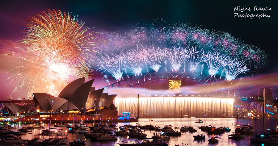 Photograph Sydney NYE Fireworks by Night Raven on 500px