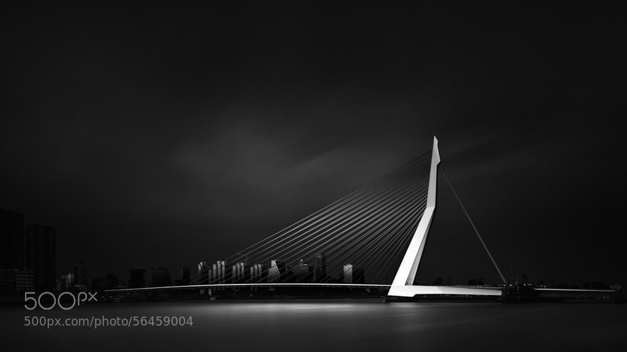Photograph Visual Acoustics VII - Silence and Light - Erasmus Bridge by Joel (Julius) Tjintjelaar on 500px