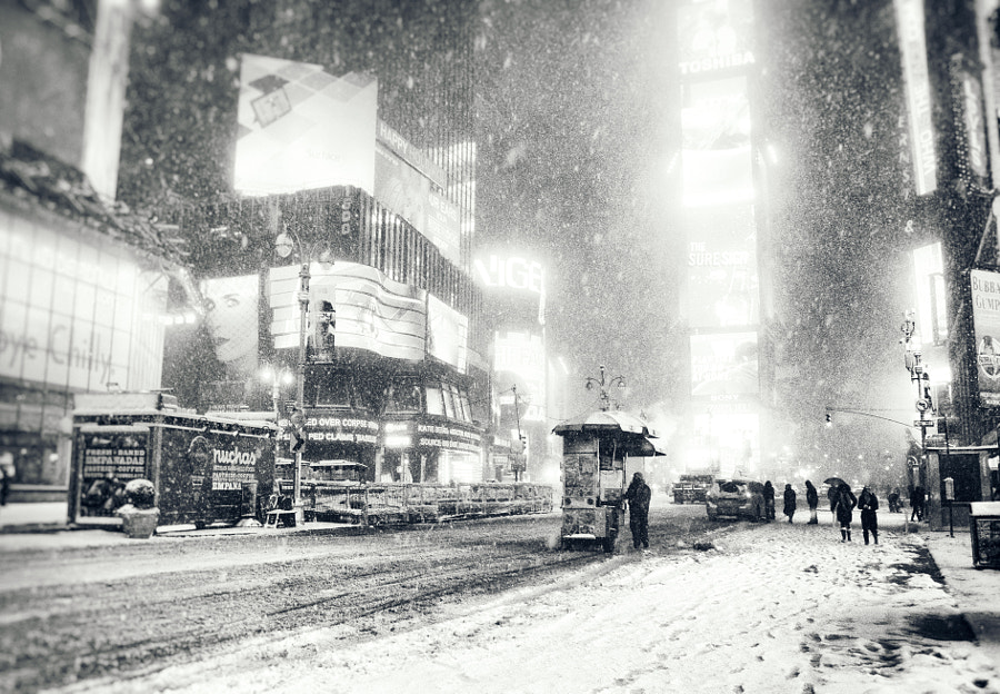 Photograph Times Square - Snowy Night - New York City by Vivienne Gucwa on 500px