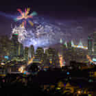 New year's 2014 fireworks over the Bay Bridge and San Francisco skyline