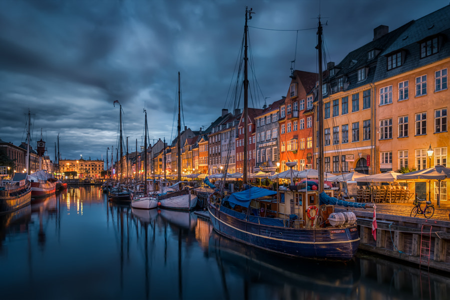 New Port in Copenhagen at night time by Jacob Surland on 500px.com