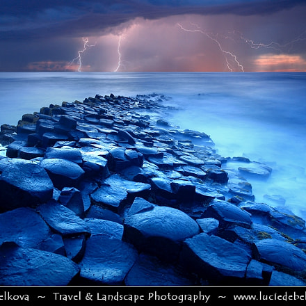 UK - Northern Ireland - Giant's Causeway during stormy Dusk - Twilight - Blue Hour