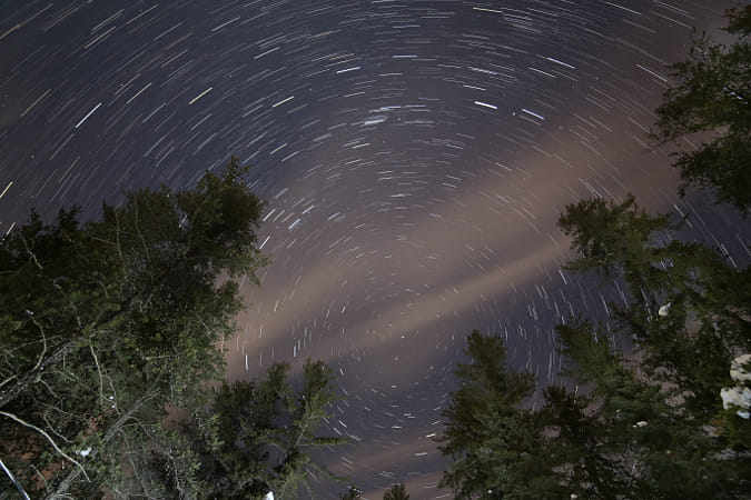 Clouds and startrails