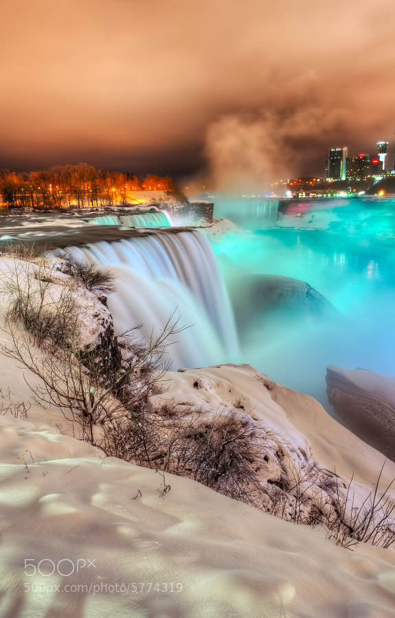 Photograph Frozen Niagara Falls at Night by Peicong Liu on 500px