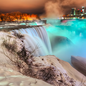 Frozen Niagara Falls at Night by Peicong Liu (noexcuseS)) on 500px.com