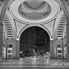 Rowes Wharf Archway and Rotunda on Boston's Waterfront at Night in Black & White