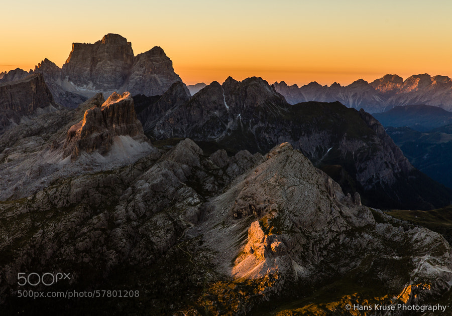 Mountains hit by first sun light towards monte Pelmo as seen from refugio Lagazuoi.  This photo was shot one morning when I stayed for the night at refugio Lagazuoi at Passo Falzarego. This was in September 2013 before the Dolomites East photo workshop.