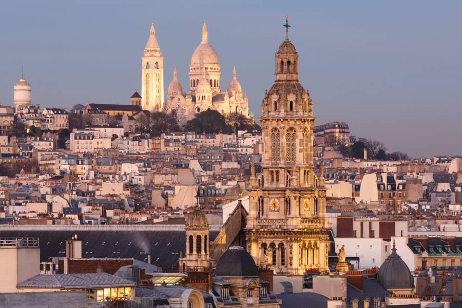 Sacré-Coeur and Trinité at blue hour