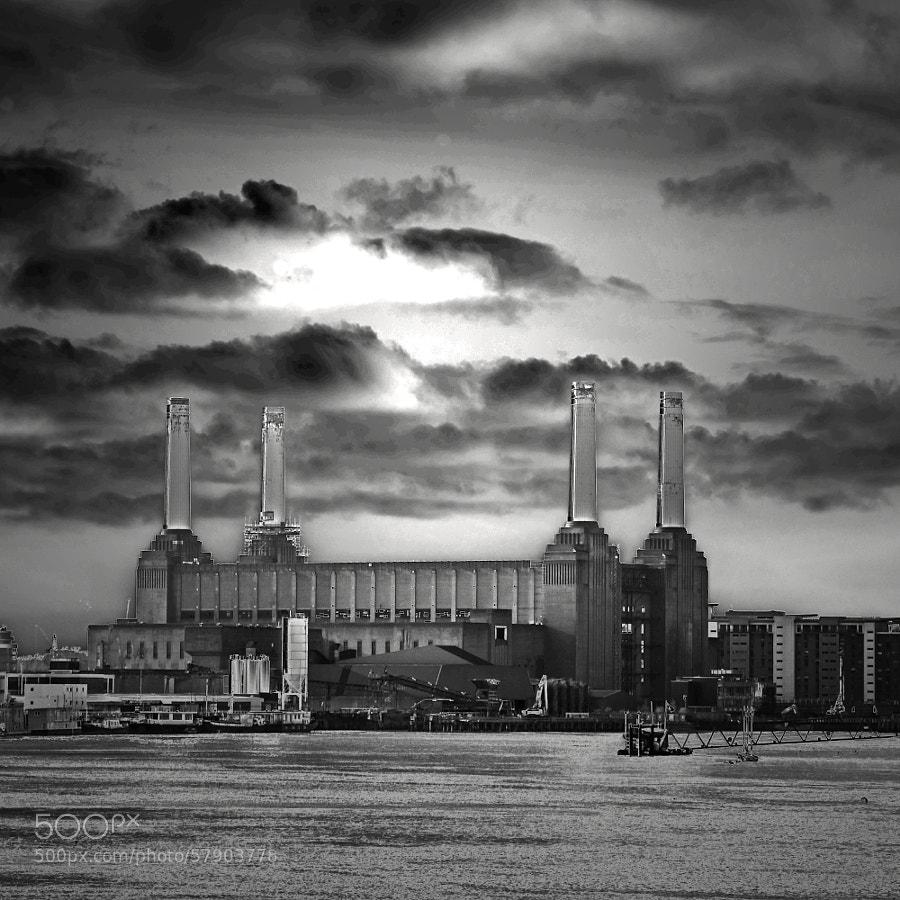 Battersea Power Station, now being re-developed, internally. Dark background.
