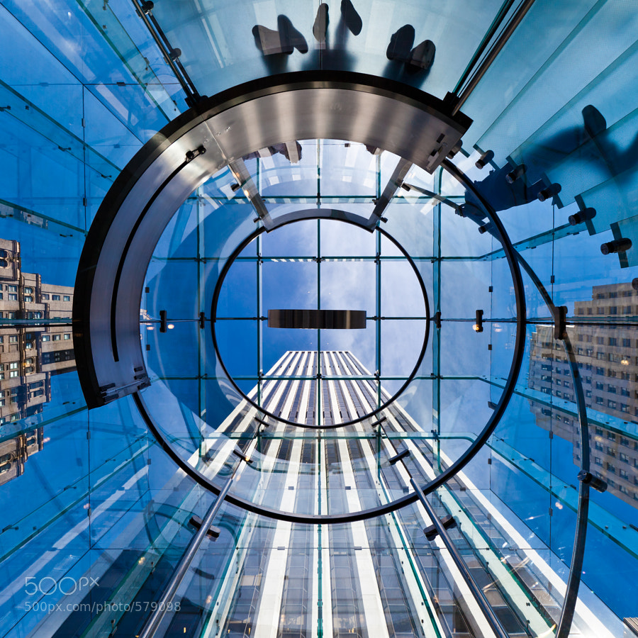 Inside the glass elevator of the 5th Ave Apple Store in New York City
