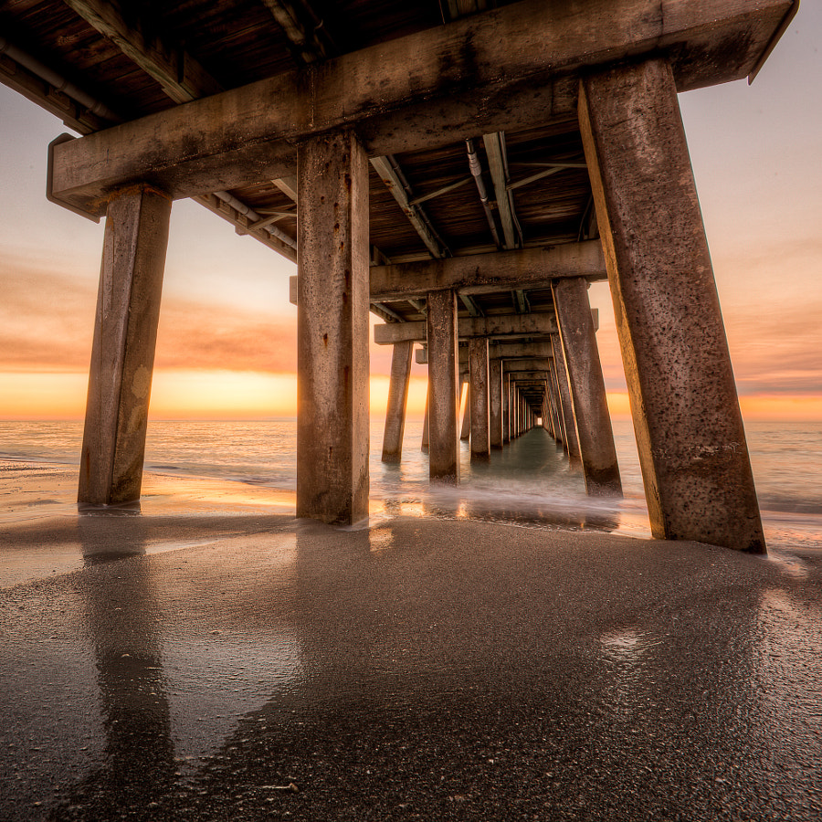Naples Pier, Florida a few minutes after sunset in HDR