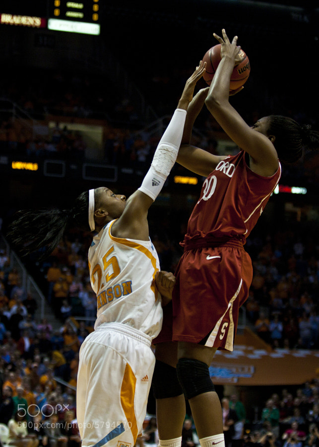 Glory Johnson blocks a shot by Stanford's Nnemkadi Ogwumike on Sunday, Dec. 19, 2010. The Lady Vols travel to Kentucky Monday looking to keep their perfect SEC record intact.