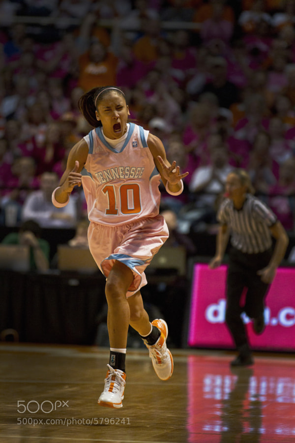 Meighan Simmons yells in celebration after a shot during a game against Kentucky on Monday, Feb. 13. Simmons lead with 25 points to help the Vols to a crushing win over the Wildcats, 91-54.